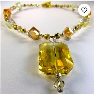 Amber, Yellow, & Citrine Crystal Bead Necklace